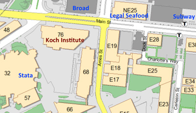 Map showing location of building E15